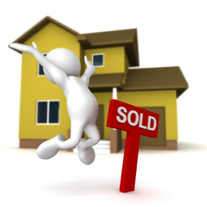 Three dimensional render of a cartoon human figure, jumping for joy next to a SOLD sign, with a home in the background.